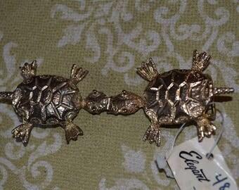 Vintage Buckle Set. Novelty Turtle. Tortoise for skinny belt. 3/4 inch fabrics. Deadstock by elegant.