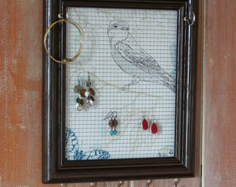 Jewelry Holder- Dark Brown Frame- Upcycled 8x10 Picture Frame