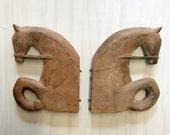 vintage wood horse head book ends / shelf arms / shelf brackets / equestrian / decor / art deco style