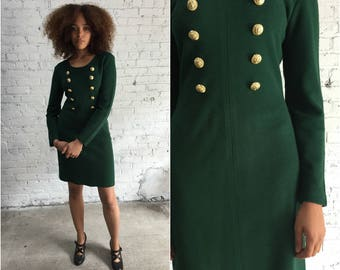 90s vintage forest green bodycon dress / 1990s long sleeve ribbed bandage dress