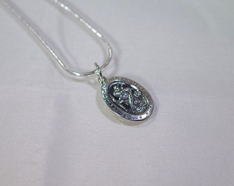 Sterling Silver St. Christopher Necklace - Sterling Silver Plated Snake Chain - 18 inches