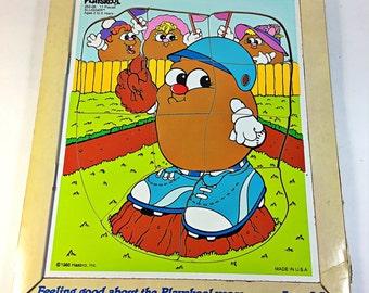 PLAYSKOOL Vintage 1986 Wooden Puzzle Potato Head Kids Slugger In original tray carton toy