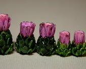 Thistles - Large, Medium or Small Lampwork Flower Beads SRA FHF - Made to Order