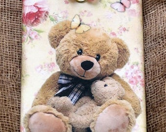 Adorable Fuzzy Bears Gift or Scrapbook Tags or Magnet #165