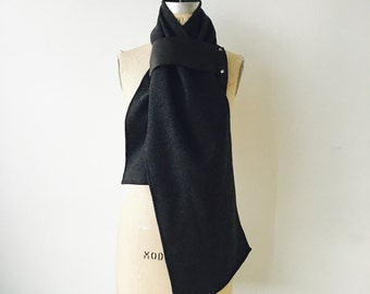 holiday sale Charcoal Gray Wool Scarf Black leather