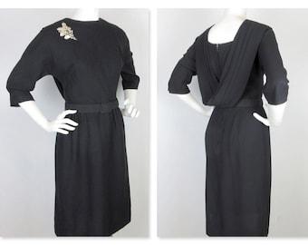 Vintage 1950s Back Drape Black Dress, Sz M