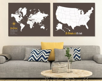 Push Pin Travel Map Set, Christmas Gift, Map Wall Art, Canvas PushPin Map, Large World Map, Map Print, Map Your Travels // H-I22-2PS AA4