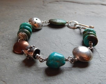 Turquoise, Copper and Sterling Silver Bracelet, g-clef clasp, turquoise link bracelet, turquoise and mixed metal bracelet, handmade bracelet