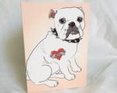 Custom Bulldog Tattoo - White - Greeting Card
