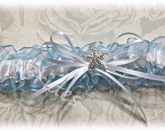Beach wedding something blue starfish bridal leg garter.  Rhinestone starfish wedding garter.