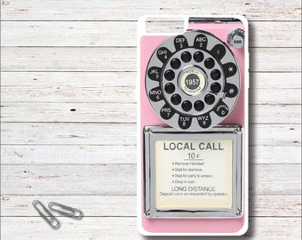 Vintage Pay Phone Case, Vintage, Pink, Antique Phone, iPhone Case, Galaxy Case, Gift for Her, Pink Cell Case