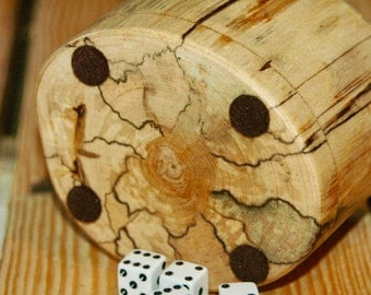 Wood dice cup - Spalted Birch
