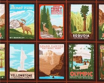 196663 brown 'Explore America' travel national park poster fabric Robert Kaufman