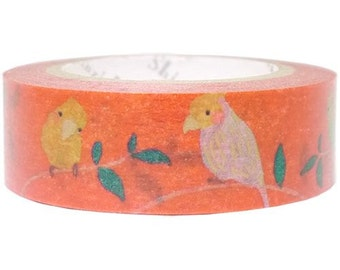 210610 orange-red with bird gold metallic Washi Masking Tape deco tape Shinzi Katoh