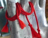 Thick or Thin:   Red Cotton Cord Double Wrap Tie-On Bracelet--proceeds for Bronx Children's Museum!