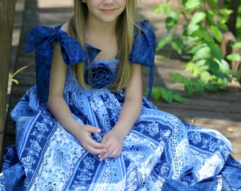 Long Boho Maxi Dress - Little Girls Summer Clothes - Toddlers - Baby Girls - Little Girls - Blue Cotton - 4 of July -  12 mo to 8 yrs