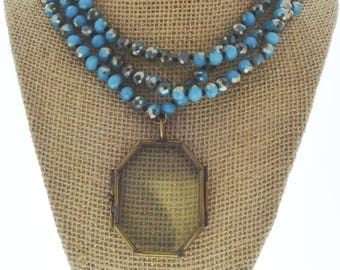 """knotted necklace locket necklace 36"""" multi wrap, sold by each with locket"""