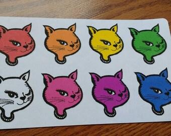 Handmade Rainbow of Winking Kitty Cat Stickers