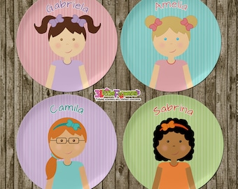 Little Girl Plate and Bowl Set - Personalized Plastic Children Plate and Cereal Bowl - Kids Dishes for Mealtime - Choose hair skin eye color