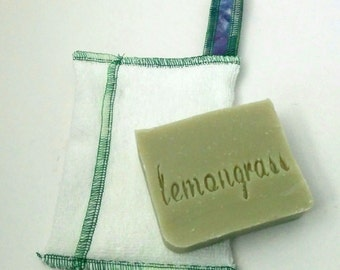 Zerowaste Soap Saver and Soap Set by Aquarian Bath - towel - washcloth set - No Palm oil- vegan- unique design