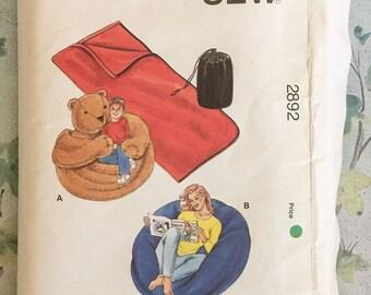 Kwik Sew 2892 Beanbag Chairs Sleeping Bags Stuf Bags Sewing Pattern