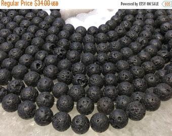 50% Mega Sale 14mm Black Lava Stone Gemstone Beads