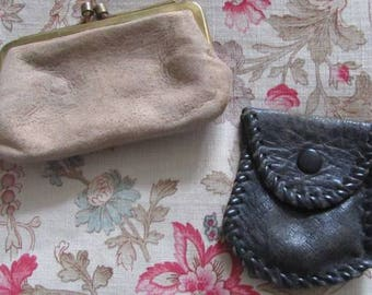 A Pair of Purses - Two Vintage Children's Purses - 1960's Suede & Leather