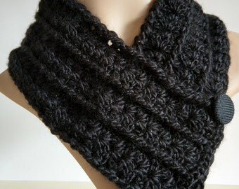 Black cowl, scarf, neckwarmer, scarflette, headband, buttoned collar, women, hand crochet, fancy shell pattern, soft yarn, manmade, vegan