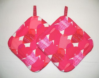 Pink Hearts, Insulated Pot Holders, Set of 2, Hot Pad, Trivet, Potholder, For the Kitchen, For the Cook, Valentines Day