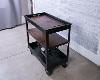Industrial Factory Cart with reclaimed wood tray