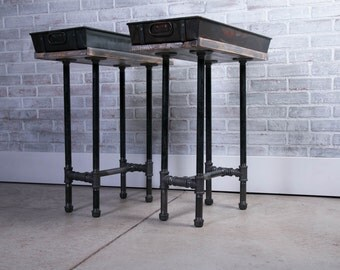Pair of Industrial reclaimed wood side tables US navy trays