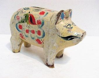 Vintage Folk Art Wooden Pig Piggy Bank Mexican Mexico Folk art Painted Wood Piggy Bank