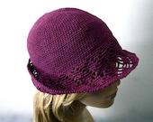 Purple Crochet Cloche/Bucket Hat - Brim in Lace Pattern - Pure Linen