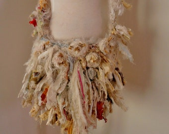 recycled silk  ribbon boho chic tattered little shoulder bag in ivory cream and more
