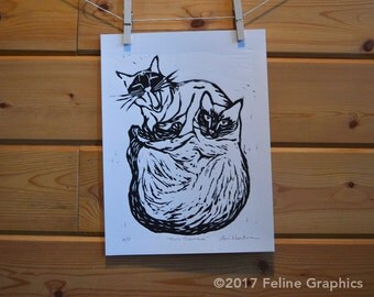 Two Siamese Cats Linocut Print, Cat Print, Home Decor, Linocut, Cat Art, Siamese Cat, Hand Printed, Cat Lady Gift