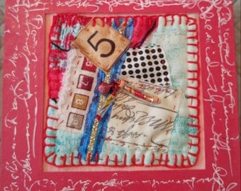"""Mixed Media Framed Collage with Found Objects """"5 with Time Capsules"""" RED"""
