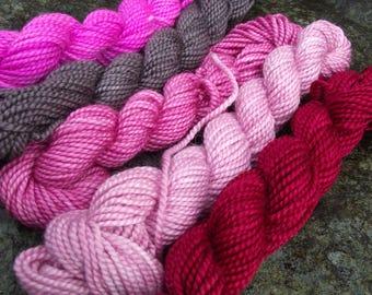 Yarn kit Merino wool Baby alpaca, Silk ,hand dyed DK sport yarn kit--Be Mine