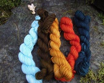 Yarn kit Merino wool Baby alpaca, Silk ,hand dyed DK sport yarn kit--Mid Century