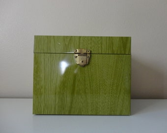 VINTAGE green faux bois FILE BOX - locks - with key