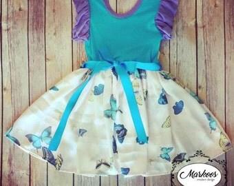 Soft Knit Pastel Butterfly Dress,  Handmade Dress, Girls Dresses, Spring Yellow Dress, Ruffle Twirl Dress