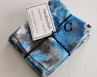 Hand Dyed Handkerchiefs - Mens Cotton Hankies - Set of 3 - Monogram C Black Royal Blue Cobalt Gray Grey Tie Dye Handkerchief Pocket Square