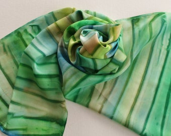 Hand Painted Silk Scarf - Handpainted Scarves Green Kelly Garden Spring Lime Olive Tan Cream Blue Ocean Sea Beach