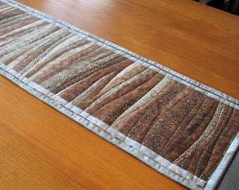 Quilted tablerunner Brown Aqua table runner