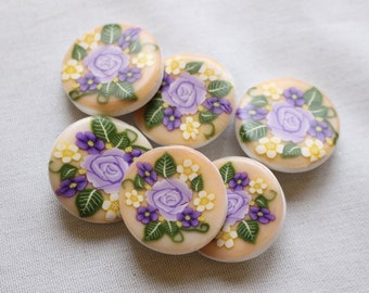 Handcrafted Rose Buttons Polymer Clay 1 inch button No. 145