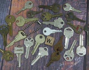 KEY Lot (24) Car Keys-House Keys-Mixed Media Altered Art Supply- Old Key Lot Found Object- Recycle- Upcycle- Repurpose