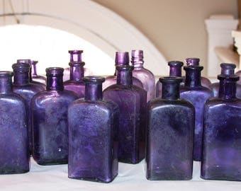 PURPLE BOTTLE LOT (5) Collection Wedding Reception Tables- Antique Glass Vintage Purple Bottles B-10