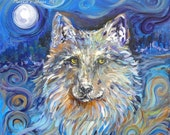Wolf print, enchanting, Animal print, Howl at the Moon, Wolf totem, Starry night, Wildlife art