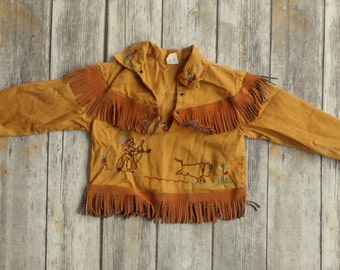 Walls of Texas Vintage Cowboy Indian Shirt Fringe Native American Costume Kids Size 4