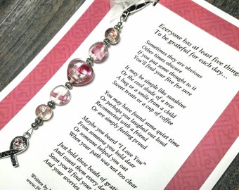 Original Poem & Gratitude Beads - Pink And Silver Foil Lampwork Glass - Breast Cancer Awareness Ribbon Charm
