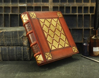 Thick Leather Journal, Orange-red leather, Gold decoration, Luxurious Dreams